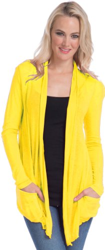 Semi-Sheer Cardigan Cover-Up With Pockets, S, Electric-Yellow