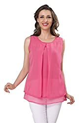 Ishin Womens Georgette Long Sleeve Top (Indwt-5051_S _Pink _Small)