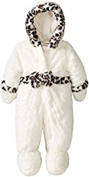 Rothschild Baby-Girls Newborn Teddy Plush Pram with Bow, Vanilla, 6-9 Months