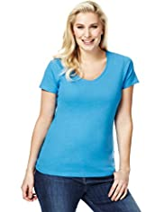 Plus Pure Cotton V-Neck T-Shirt with Stay New™
