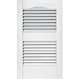 12 in Vinyl Louvered Shutters in White - Set of 2
