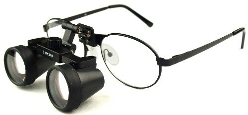 "Featured On ""Bones"" -- Dental Surgical Medical Binocular Loupes -- 2.5X460Mm Working Distance -- Flip Up Black Titanium Frame"