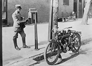 early 1900s photo U.S. mailman & motorcycle Vintage Black & White Photograph g9