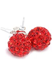 .925 Sterling Silver Red Crystal Ball 8mm Stud Earrings