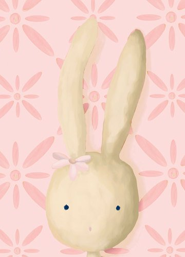 Oopsy daisy Rae The Bunny, Pink Stretched Canvas Wall Art by Meghann O'Hara, 10 by 14-Inch