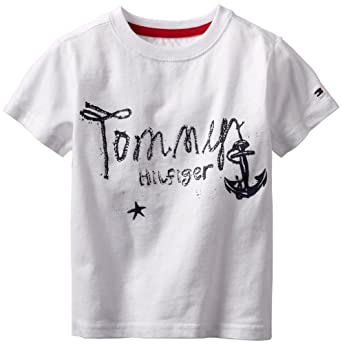 Tommy Hilfiger Boys 2-7 Short Sleeve Vaughn Tee, White, 4 Regular