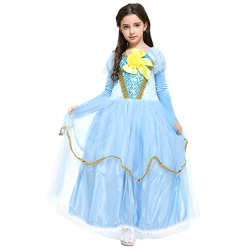 Katara 1756-Bambina Principessa Vestito Costume con pizzo, Scaldamuscoli, fiocco-104/110, blu