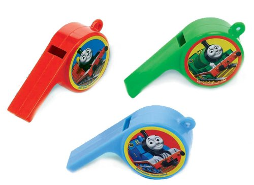 "Amscan Fun Thomas The Tank Whistle Birthday Party Favors (12 Piece), 3 x 1-5/8 x-3/4"", Red/Green/Blue - 1"