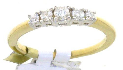 Classical 9 ct Gold Ladies 5 Stones Diamond Ring Brilliant Cut 0.25 Carat I-I1 Size O 1/2