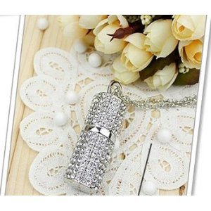 High Quality 16GB Lipstick Case Shape Crystal Jewelry USB Flash Memory Drive Necklace from T &  J