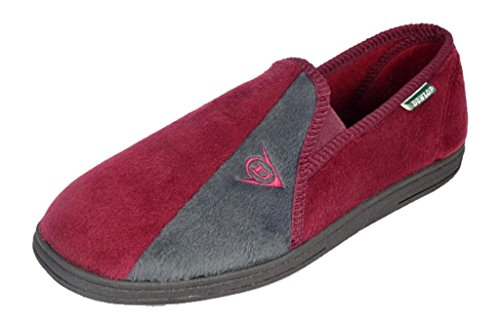Celebri pantofole Dunlop WINSTON II con Insock Imbottitura Super Comfort, (Bordeaux/Grigio), 42.5