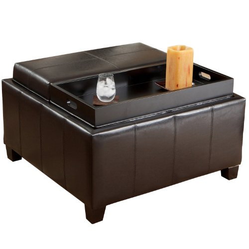 BEST Mansfield Leather Espresso Tray Top Storage Ottoman