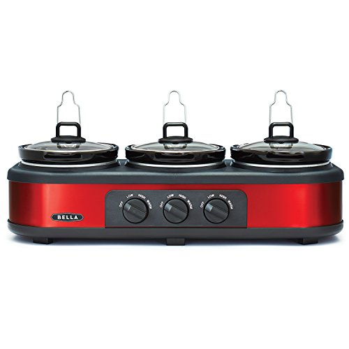 BELLA Triple Slow Cooker and Buffet Server, 3 x 1.5 QT Manual Red (Bella Crock compare prices)