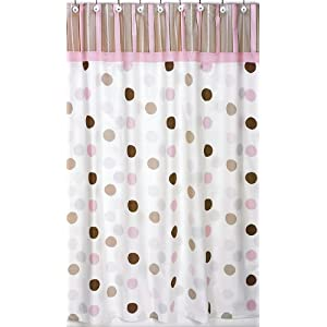 Brown and Pink Polka Dot Shower curtain