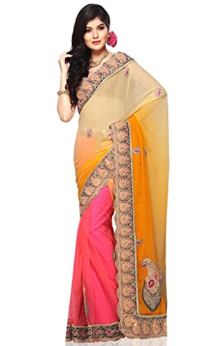 Triveni Orange Faux Georgette Saree