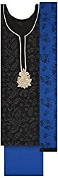 Pal-Pal Women's Art Silk Dress Material (PAL-PAL-A02, Black & Blue)