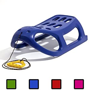 Blue strong plastic sledge with metal runners and rope