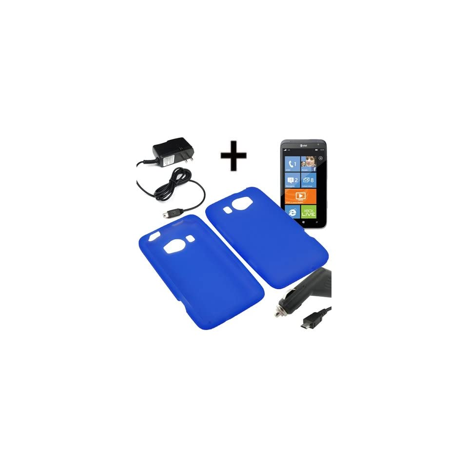 AM Soft Sleeve Gel Cover Skin Case for AT&T HTC Titan II + Car + Home Charger Blue