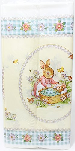 "Designware Plastic Tablecover Tablecloth 54"" X 96"" Bunnies - 1"