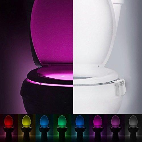 ILOVEDIY Lampe de Toilette Veilleuse LED pour WC/Salle de Bain Capteur Détecteur PIR 8 Changement de Couleurs Éclairage