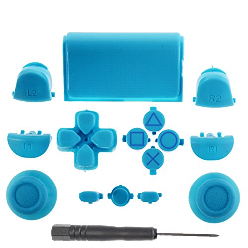 PS4 Light Blue Full Parts Set (Thumbsticks, Buttons, D-pad, Triggers, Touchpad) for Playstation 4 Controller