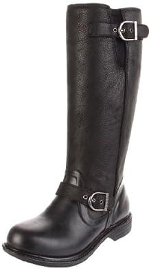 Bogs Women's Mckenna Leather Rain Boot, Black, 11 M US