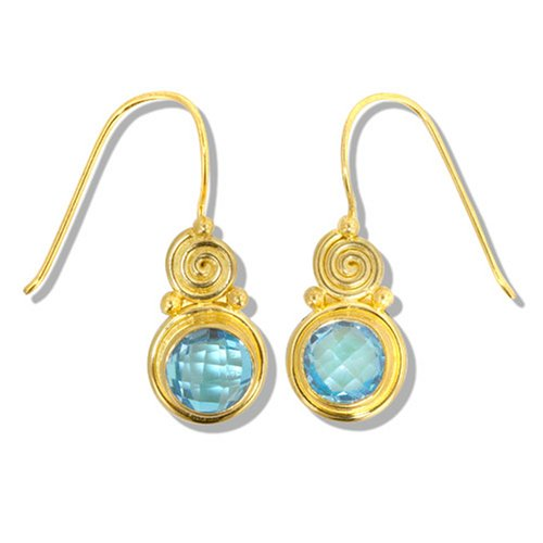 Gold Overlay Faceted Swiss Blue Topaz Earrings