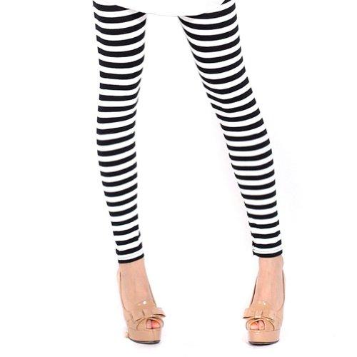 ECOSCO Women Vertical Horizontal Stripes Striped Ankle Length Footless Pantyhose Legging Tregging Tight Skinny Slim One Size Black & White
