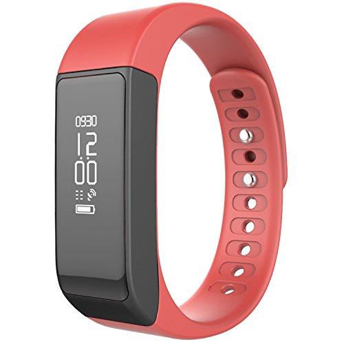 Image of Juboury Bluetooth Fitness Tracker Sport Armband mit Schrittzähler, Schlafmonitor und Kalorienzähler für iOS und Android Smartphones (rot)