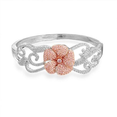 Bling Jewelry Pink Topaz Color CZ Flower Vines Bridal Bangle Leaf Bracelet