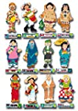 MULTICULTURAL BULLETIN BOARD/POSTER SET WITH 12 CHARACTERS IN TRADITIONAL DRESS