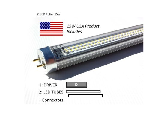 Case Of 30W Led Retrofit Kits For 2' Fixtures: (12) 15W 40K Led Tubes & (6) Drivers, For Delamping