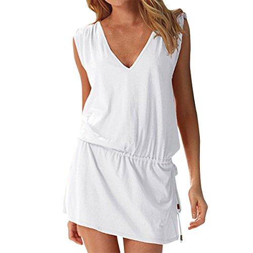 LAPAYA Women's Swim Beach Dress Deep V Neck Open-back Beach Cover Up Beach Skirt, White, 2-6 (Swim Cover Ups Women compare prices)