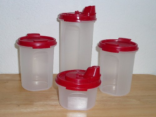 Tupperware 4 Pc Modular Mate Round Set. Two Pour Seals. Two Shaker Seals. Red (Tupperware Modular Mates Round 3 compare prices)