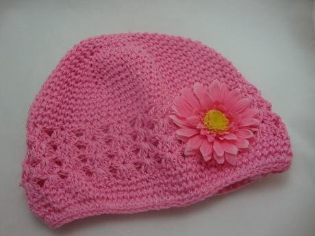 NEW Pink Baby Crochet Beanie Hat with Daisy Flower, Limited.