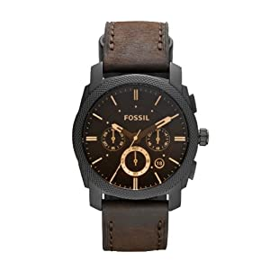 Fossil Men's Utility Chronograph Watch FS4656 With Black Dial And Brown Leather Strap