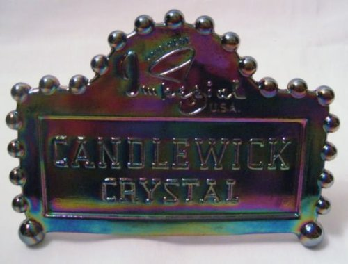 Imperial Glass Logo Dealers Sign in Black Carnival Glass Imperial Carnival Glass