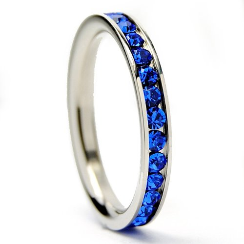 3MM Stainless Steel Eternity Ring with Blue Cubic Zirconia Crystals Size 10