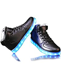 Monika Creations Unisex USB Rechargeable Black High Top LED Simulation Shoes Sneaker - Light Up Your Personality