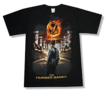 """The Hunger Games """"Stadium Poster"""" Black T-Shirt New Adult (2X-Large)"""