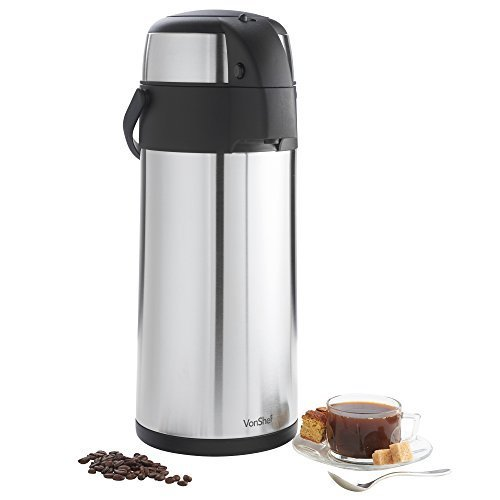 VonShef Thermal Airpot Beverage Dispenser, 5 L (Large Thermos Carafe compare prices)