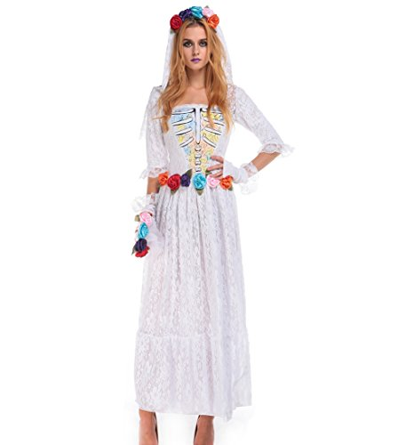 Blues Outfit Women Halloween Costume Ghost Bride Spirit Costume Adult