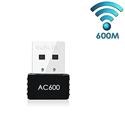 Glam Hobby 600Mbps AC600 Dual Band USB WiFi Dongle & Wireless Network Adapter for Laptop / Desktop Computer - Backward Compatible with 802.11 a/b/g/n Products (2.4 GHz 150Mbps, 5GHz 433Mbps)