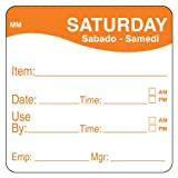 """DayMark 1100356 MoveMark Day of the Week Label, Saturday - Item/Date/Use By, 2"""" x 2"""", Orange (Roll of 500)"""
