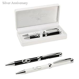 Amore Set of 2 Pens - 25th Anniversary - Silver - BebeHogar.com