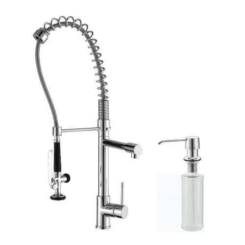Kraus KPF-1602-KSD-30CH Single Lever Pull Out Kitchen Faucet and Soap Dispenser, Chrome