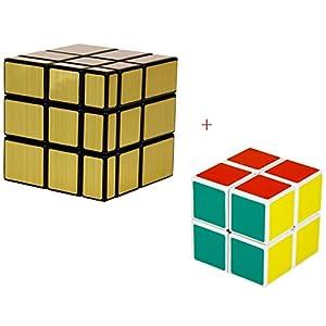 2 Pack Shengshou 2x2x2 , 3x3x3 Magic Square Mirror Speed Cube Puzzle Set