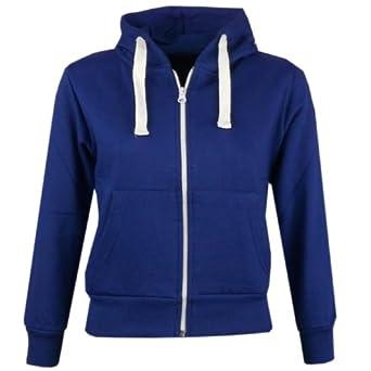 Kids Girls Boys Plain Fleece Hooded Hoodie Sweatshirt Zip Up Style Zipper Size 7 8 9 10 11 12 13 Years (7-8 Years, Royal Blue)