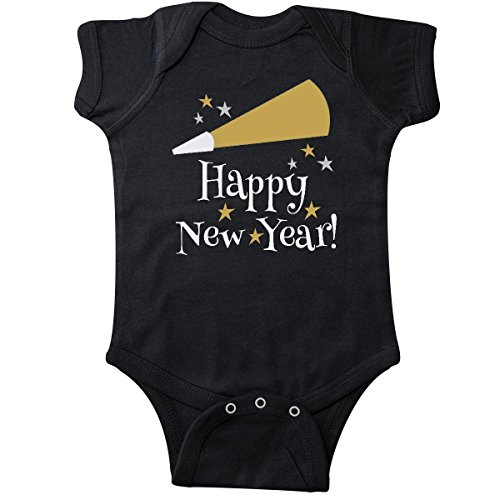 Inktastic Unisex Baby Happy New Year holiday Infant Creeper Newborn Black