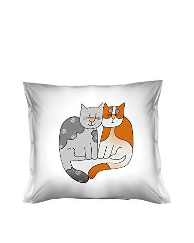 FUNNY BED by MANIFATTURE COTONIERE Abwaschbares Kissen weiß/grau